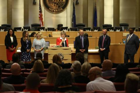 Mayor Carolyn Goodman, center, speaks after a swearing-in ceremony for three new council member ...