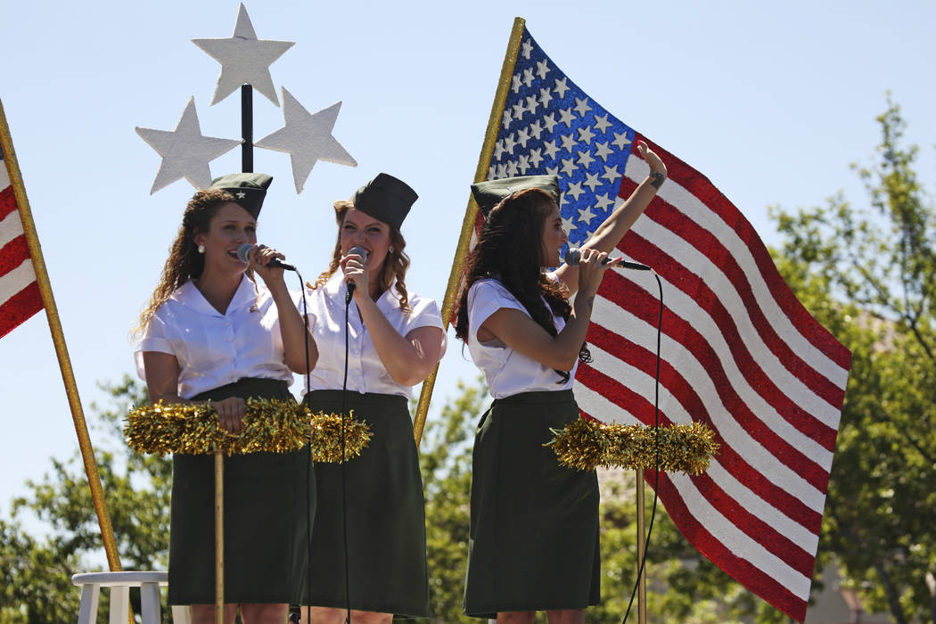 Performers sing during the 25th annual Summerlin Council Patriotic Parade on July 4, 2019 in La ...