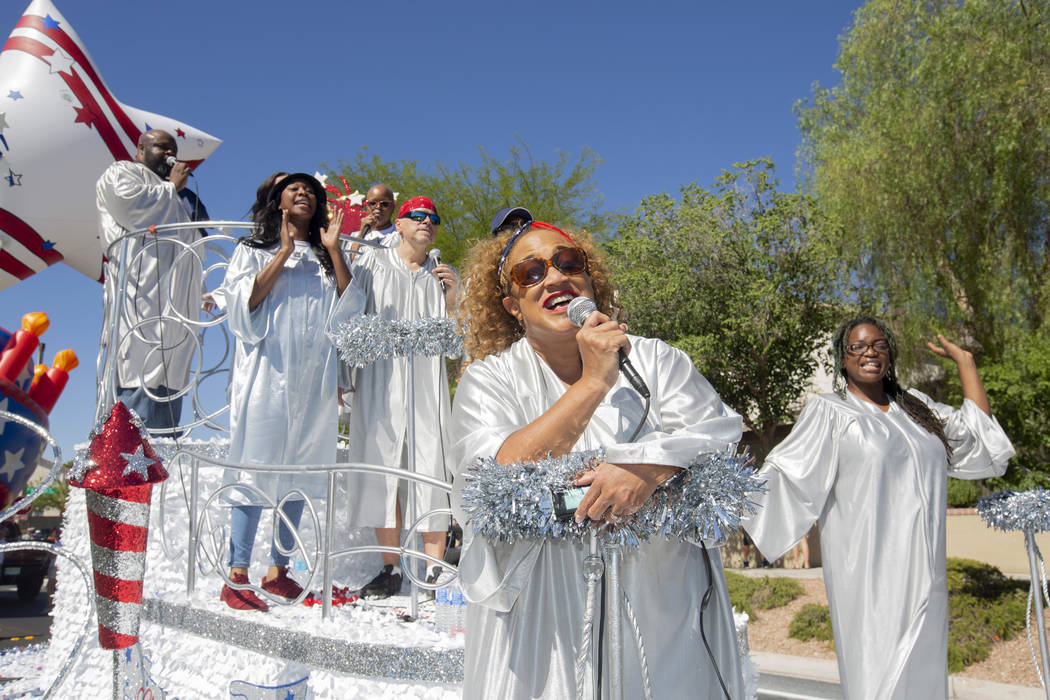 Soul singers perform during the 25th annual Summerlin Council Patriotic Parade on July 4, 2019 ...