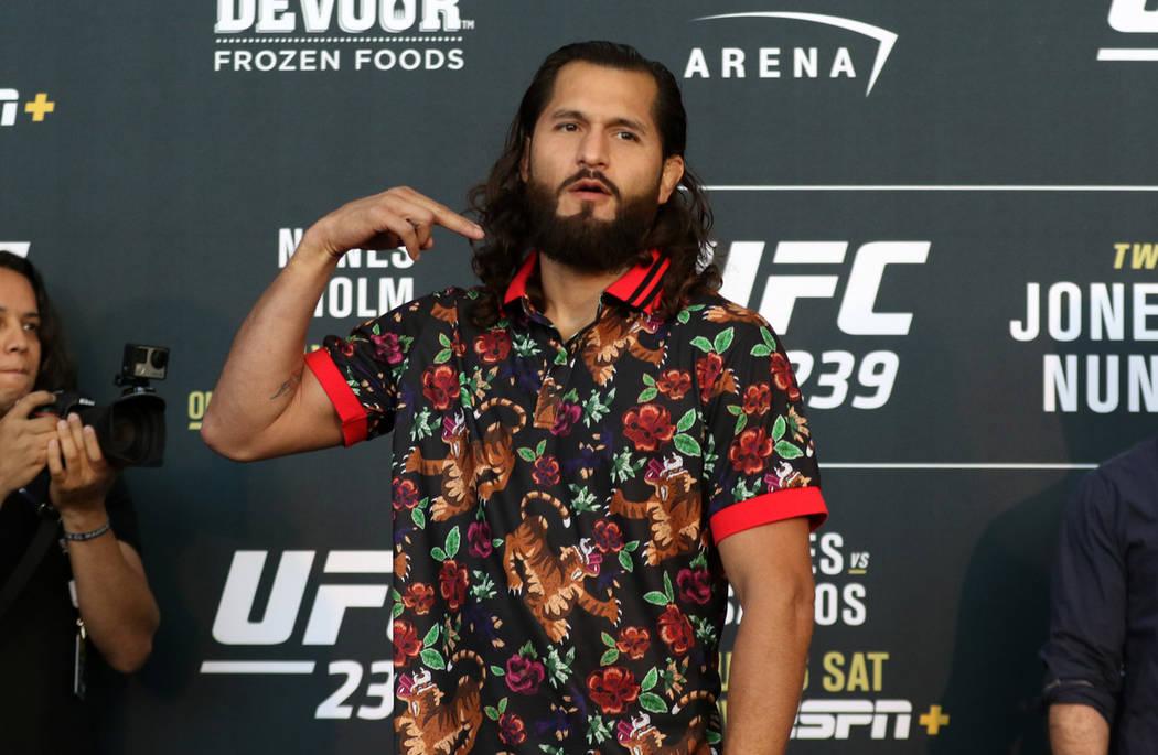 UFC welterweight Jorge Masvidal gestures after a staredown with his opponent, Ben Askren, not p ...