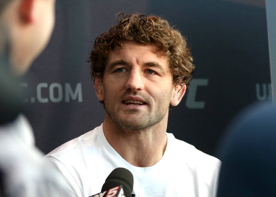 UFC welterweight Ben Askren takes questions from reporters at a media day at the T-Mobile Arena ...