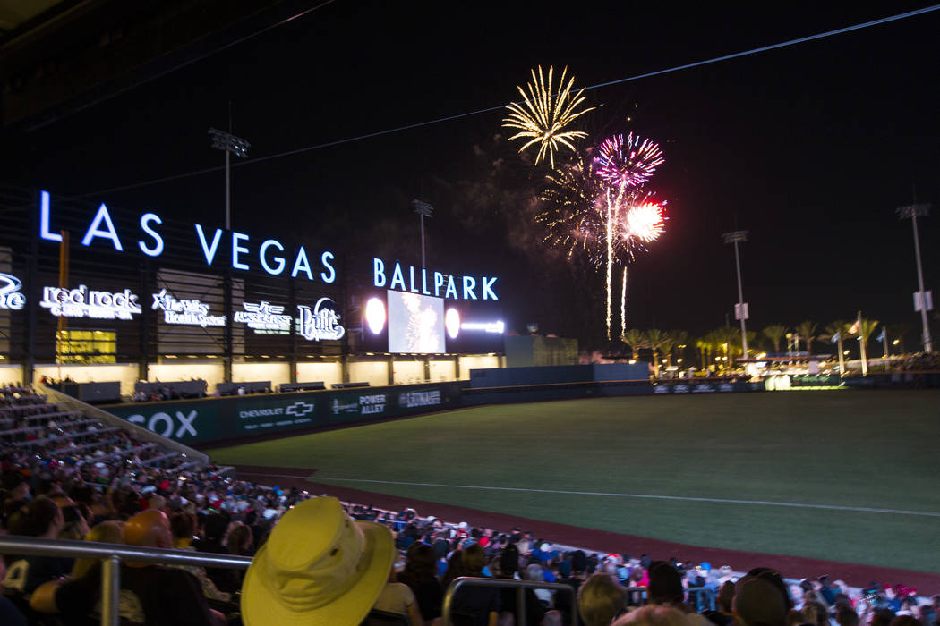 Fireworks go off above Las Vegas Ballpark after the Las Vegas Aviators defeated the Reno Aces 3 ...