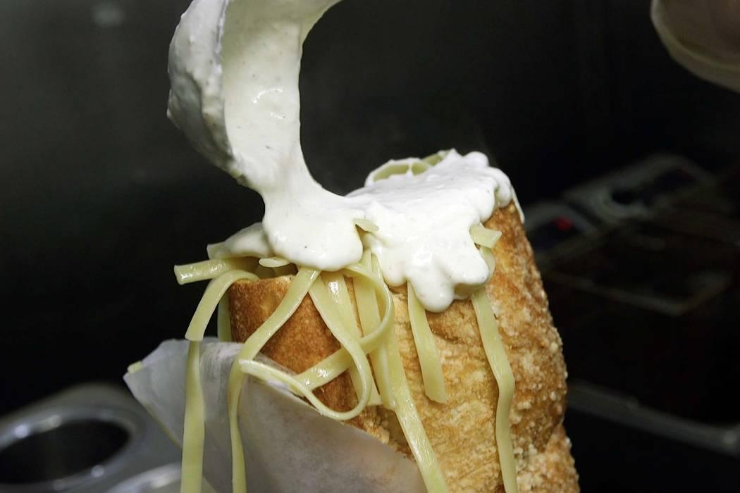 "A fettuccine alfredo ""Fat Baby"" sandwich at Amano Las Vegas. (Mat Luschek/Las Vegas Review-Journal)"