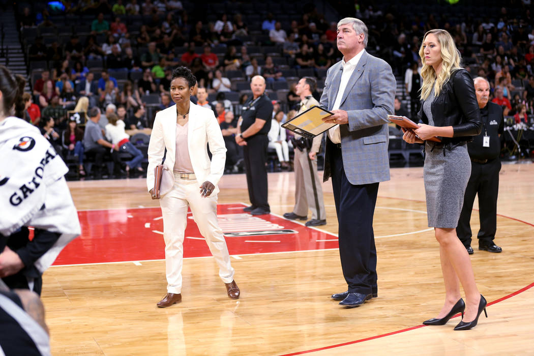 Las Vegas Aces assistant coach Vickie Johnson, left, head coach Bill Laimbeer and assistant coa ...