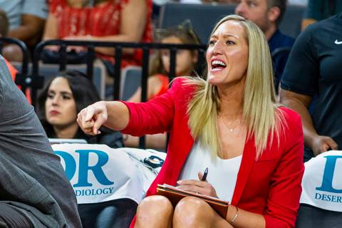 Las Vegas Aces assistant coach Kelly Raimon yells to players during the second quarter of a WNB ...