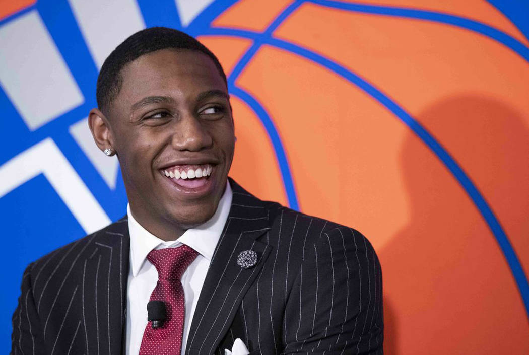 New York Knicks draft pick RJ Barrett speaks to reporters during a news conference, Friday, Jun ...