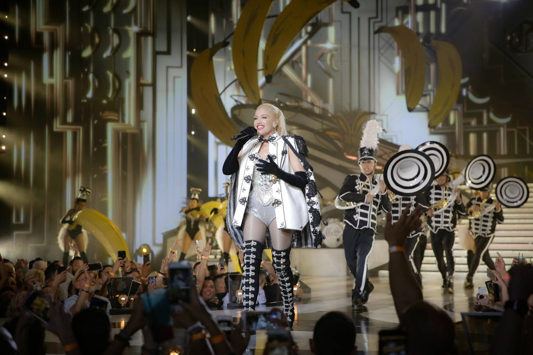 "Zappos Theater at Planet Hollywood headliner Gwen Stefani is shown during her ""Just A Girl"" pro ..."