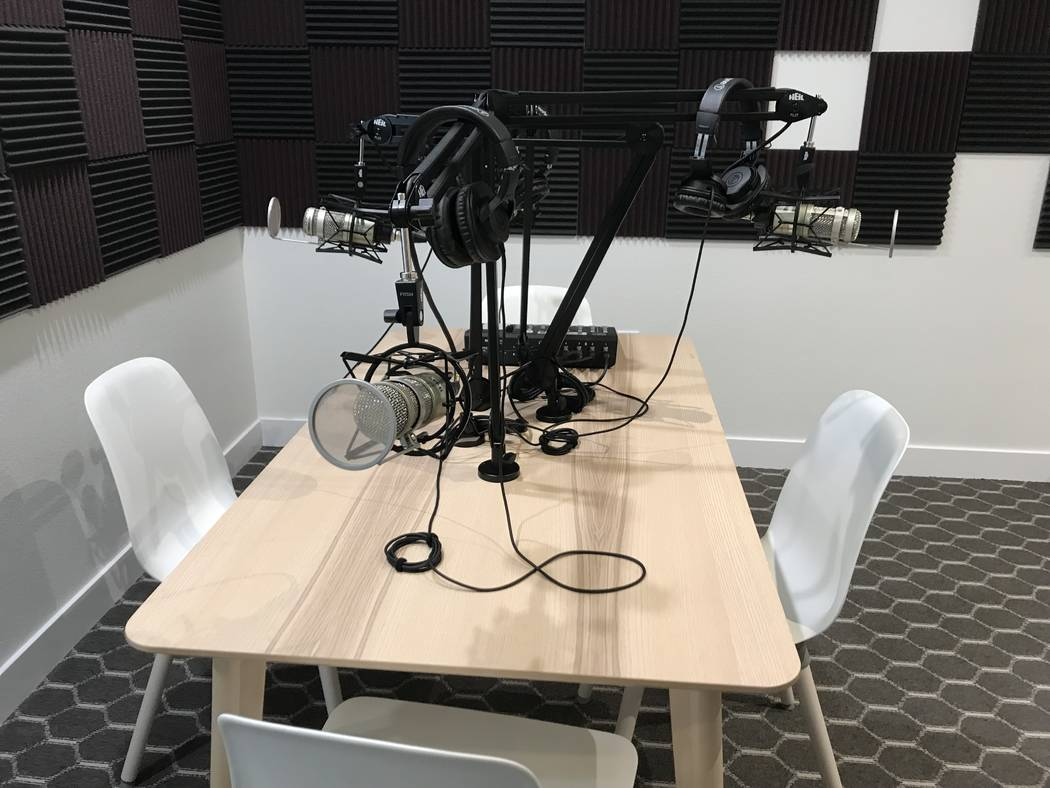 The podcasting room at Bottega Exchange on Wednesday, July 3. Rachel Spacek/ Las Vegas Review-J ...
