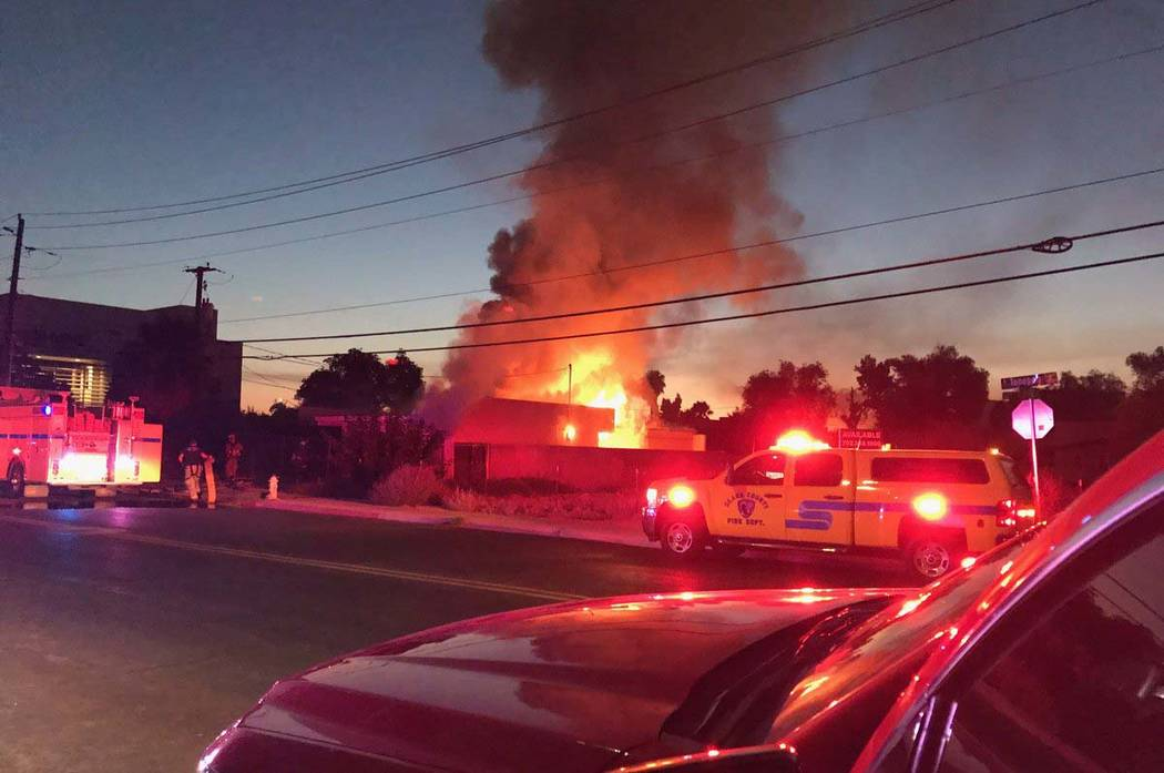 Las Vegas firefighters extinguished a fire in a vacant one-story building at 511 S. Tonopah Dri ...