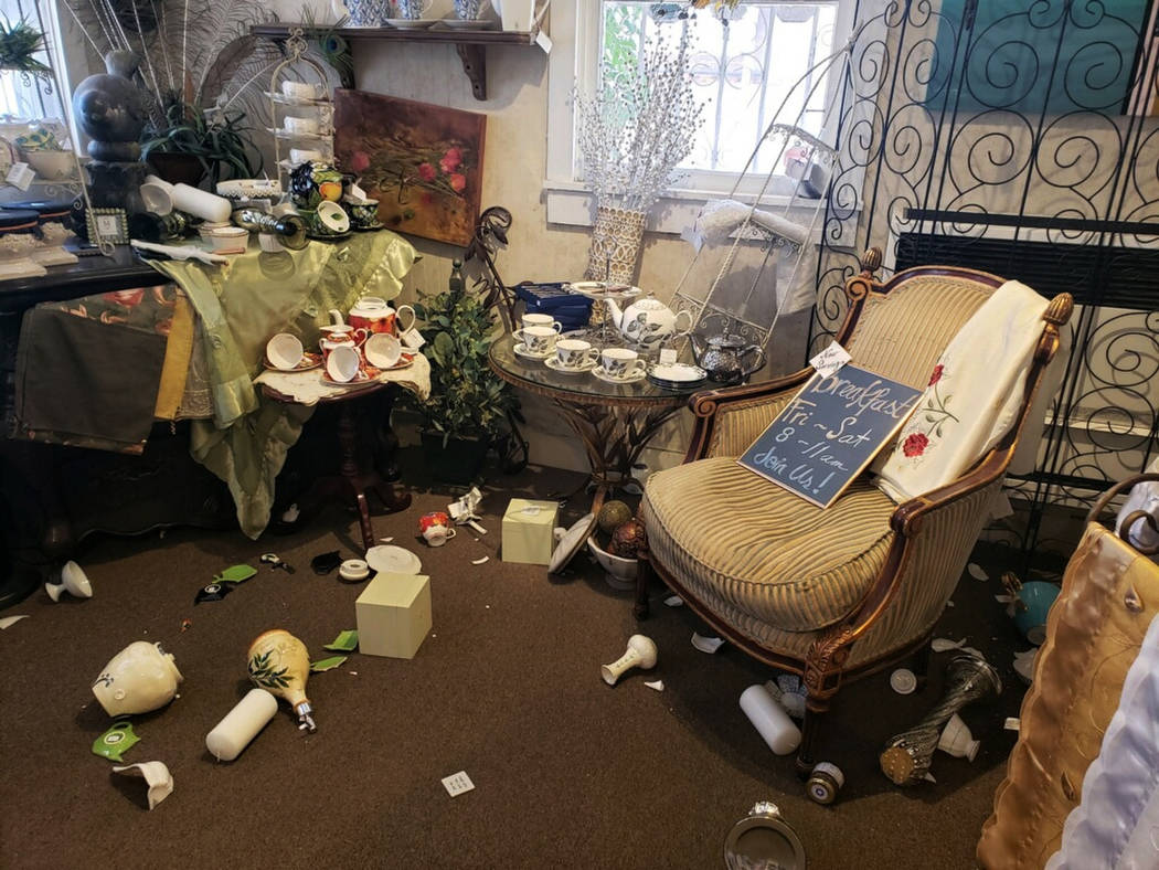 """The interior of """"My Enchanted Cottage"""" is seen after an earthquake, Thursday, July 4, ..."""
