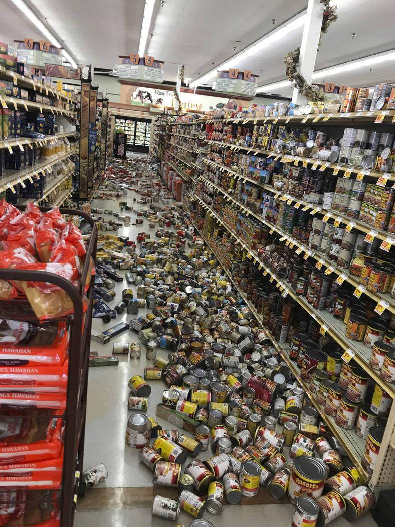 Food fell from shelves at the Stater Bros. in Ridgecrest, Calif., Thursday, July 4, 2019. The s ...