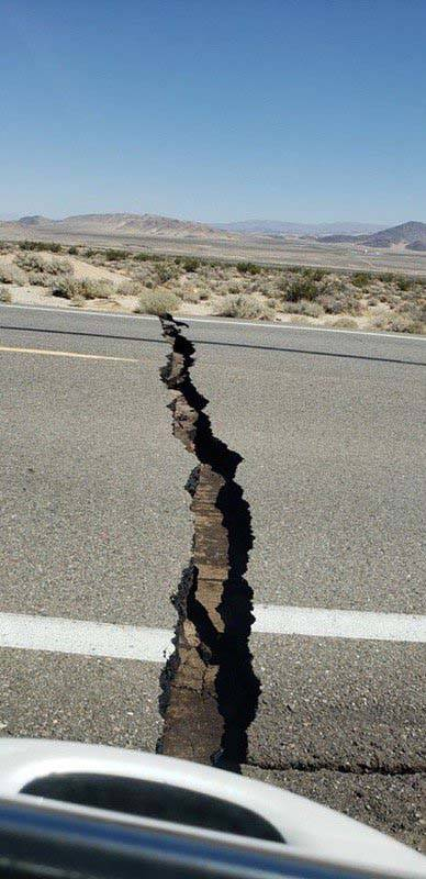 State Route 178 between Ridgecrest and Inyokern, California, was damaged during a 6.4-magnitude ...