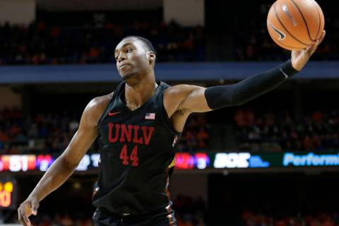 UNLV's Brandon McCoy pulls down an inbound pass during the second half of an NCAA college baske ...