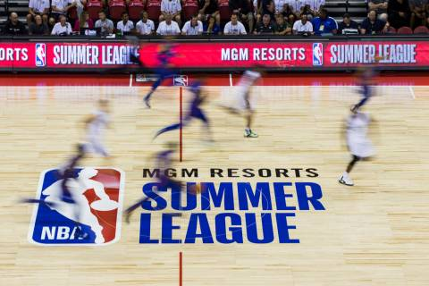 The Milwaukee Bucks play the Philadelphia 76ers during a basketball game at the Vegas Summer Le ...