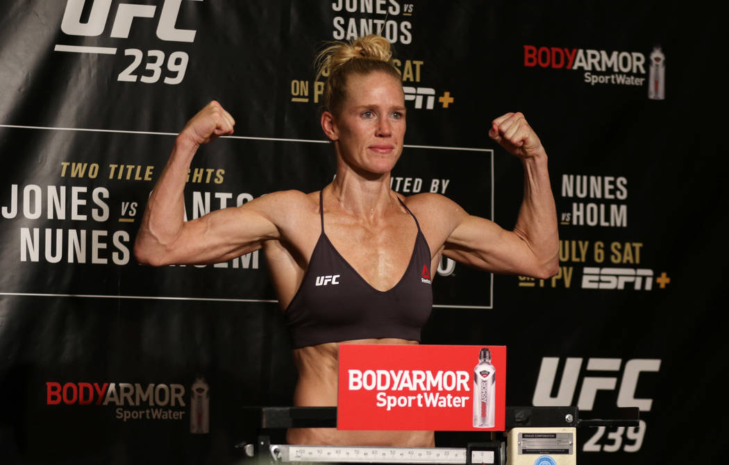 Ahead of UFC 239 on July 6 at the T-Mobile Arena, bantamweight Holly Holm weighs in for her tit ...