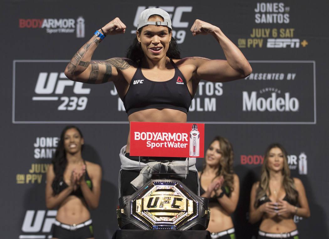 UFC bantamweight champion Amanda Nunes weighs in for UFC 239 on Friday, July 5, 2019, at T-Mobi ...