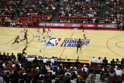 The Houston Rockets plays against the Cleveland Cavaliers during the NBA Summer League game at ...