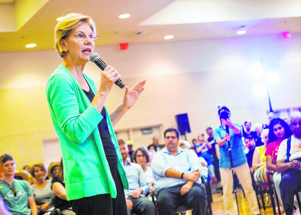 Democratic presidential candidate Sen. Elizabeth Warren, D-Mass., speaks during a campaign rall ...