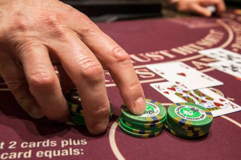 Blackjack is dealt at the MGM Grand hotel-casino on Thursday, April 19, 2018, in Las Vegas. (Be ...