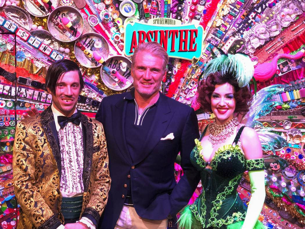 """Actor Dolph Lundgren is shown with the Gazillionaire and Green Fairy at """"Absinthe"""" at Caesars P ..."""