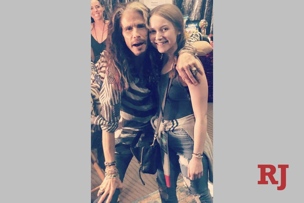 Steven Tyler is shown with Alexa Ciancimino at Park Theater at Park MGM on Thursday, July 4, 20 ...