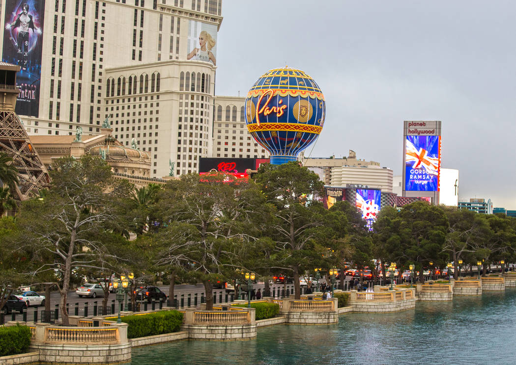 Cars pass by Paris Las Vegas on the Strip on Wednesday, March 20, 2019, in Las Vegas. (Benjamin ...