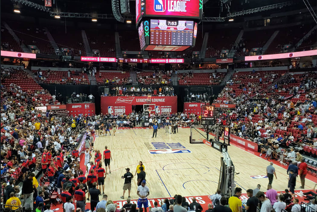 A Vegas Summer League game is stopped after an earthquake hit Las Vegas on Friday, July 5, 2019 ...