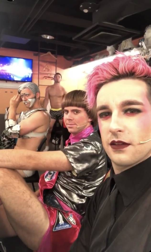 """Brett Loudermilk, far right, who plays Todd the sword swallower in """"Opium,"""" posts a video clip ..."""