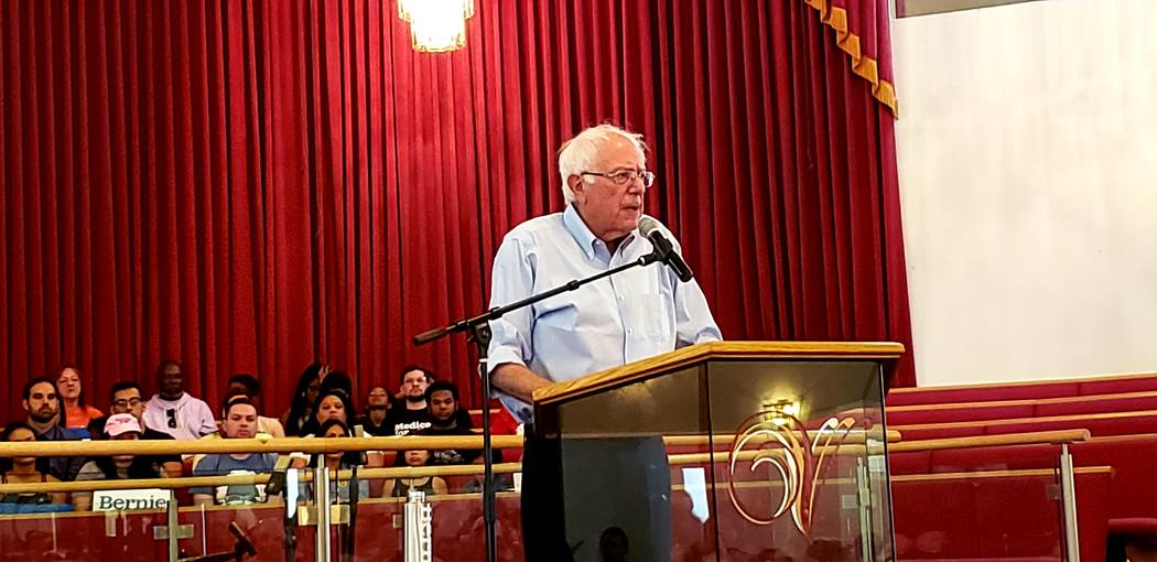 Democratic presidential candidate Sen. Bernie Sanders, I-Vt., speaks during a town hall event S ...