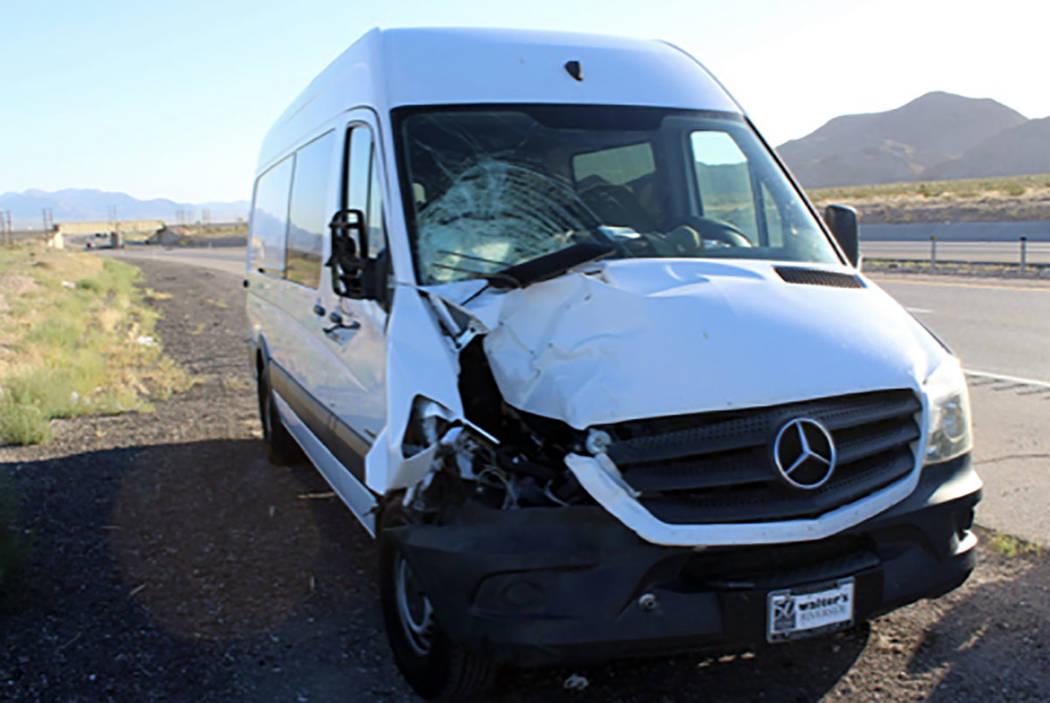 A white Mercedes Sprinter van on Interstate 15. (Nevada Highway Patrol)