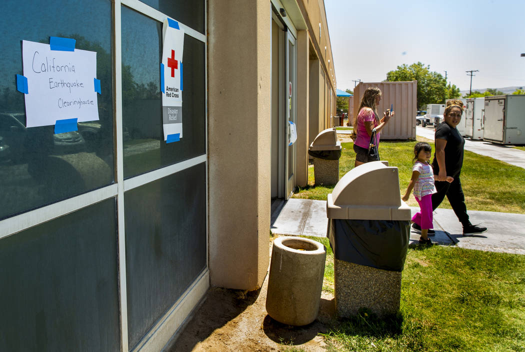 The American Red Cross has set up a California Earthquake Clearinghouse shelter within the Ridg ...