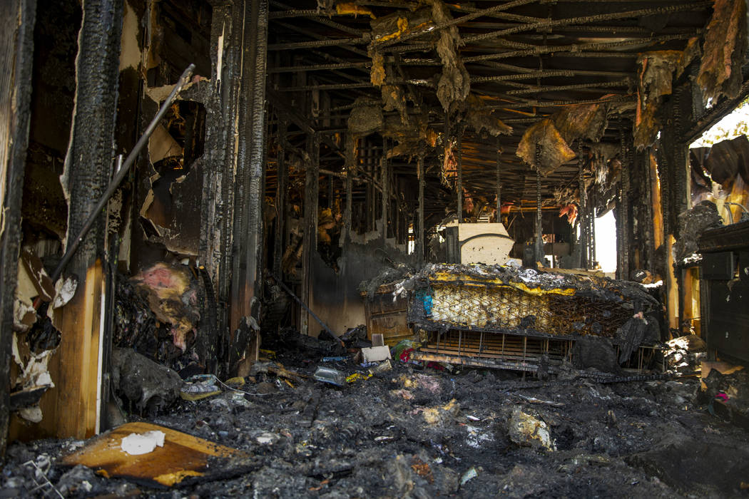 Nothing remains in the home of Claudia Arevala after a fire there at the Town and Country Mobil ...