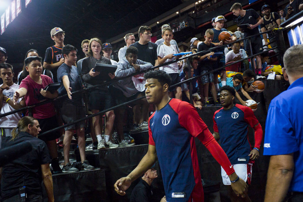 Washington Wizards' Rui Hachimura heads to the court for his Vegas Summer League debut in a bas ...
