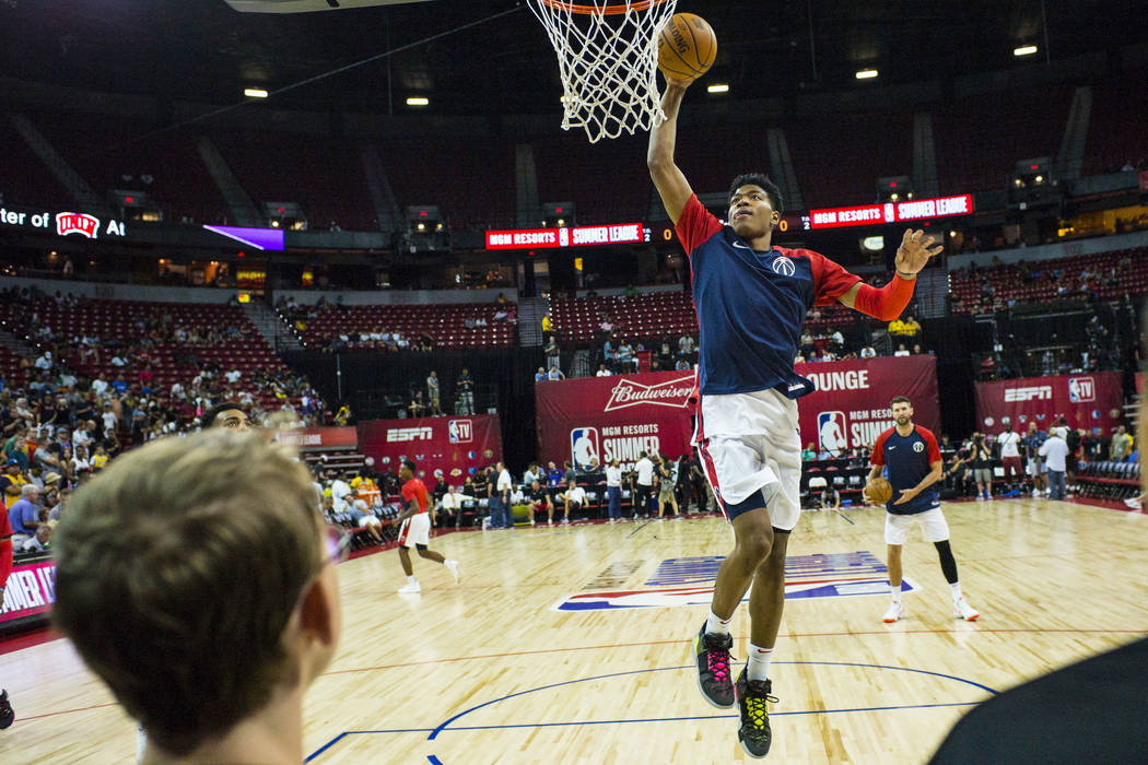 Washington Wizards' Rui Hachimura warms up before playing against the New Orleans Pelicans duri ...