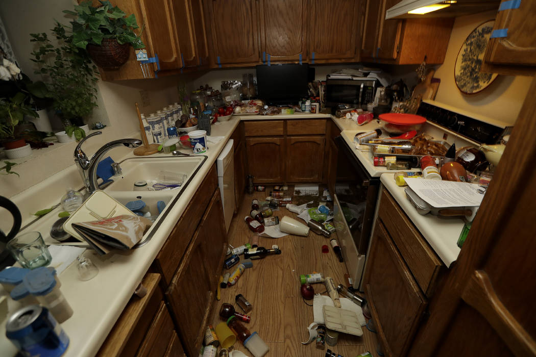 Items are scattered around a kitchen Saturday, July 6, 2019 following a earthquake in Ridgecres ...