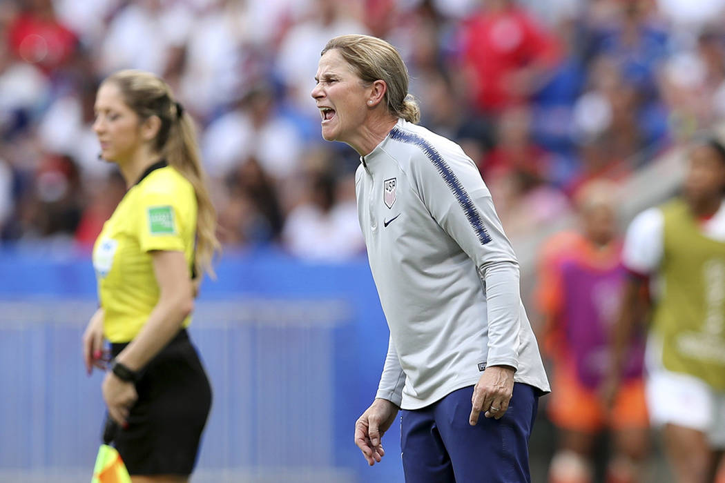 United States coach Jill Ellis shouts instructions during the Women's World Cup final soccer ma ...