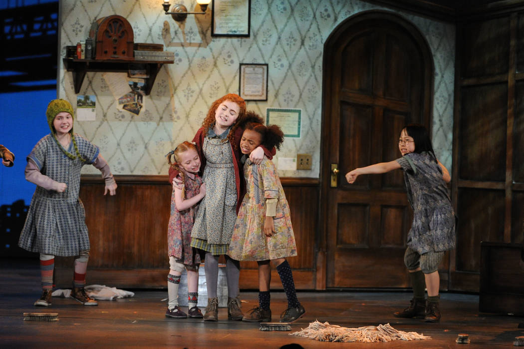 """Lilla Crawford, center, and the cast of """"Annie"""" performs at the 67th Annual Tony Awar ..."""