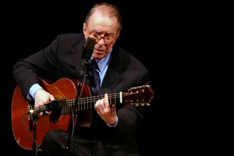 FILE - In this June 18, 2004 file photo, Brazilian composer Joao Gilberto performs at Carnegie ...