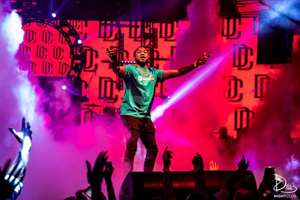 Meek Mill Big Sean performs at Drai's Las Vegas on Saturday July 6, 2019. (Cara Hutchison/Lede ...