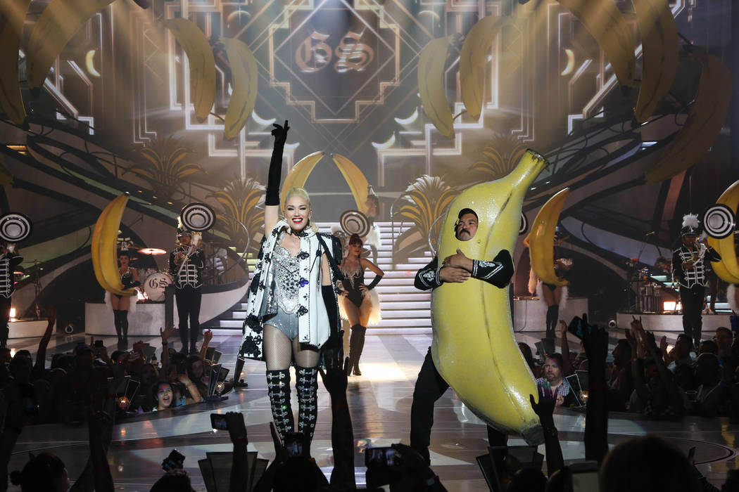 Gwen Stefani and Guillermo Rodriguez (in banana suit) are shown at Zappos Theater on Saturday, ...