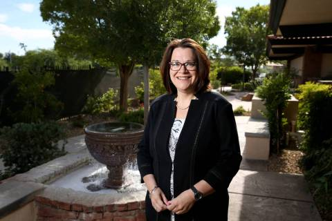 Nathan Adelson Hospice President and CEO Karen Rubel in the hospice's Healing Garden in Las Veg ...