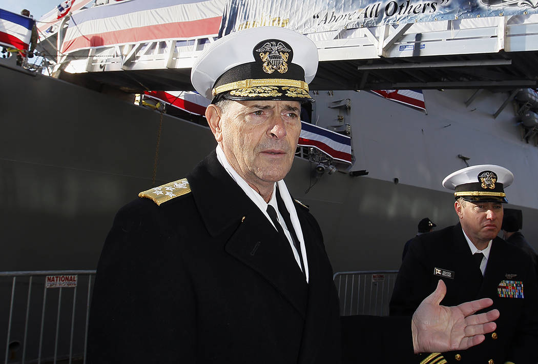 In this Dec. 1, 2018, file photo, Vice Chief of Naval Operations, Adm. William Moran describes ...