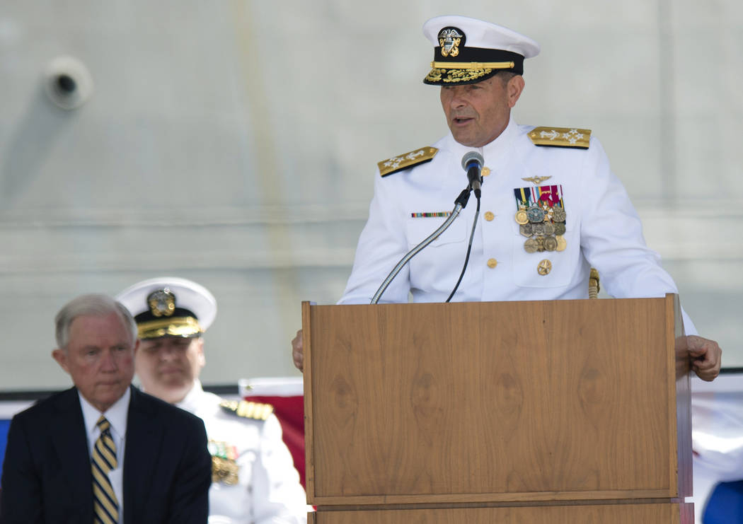 FILE- In this Sept. 10, 2016, file photo. Adm. William Moran speaks during the Commissioning of ...