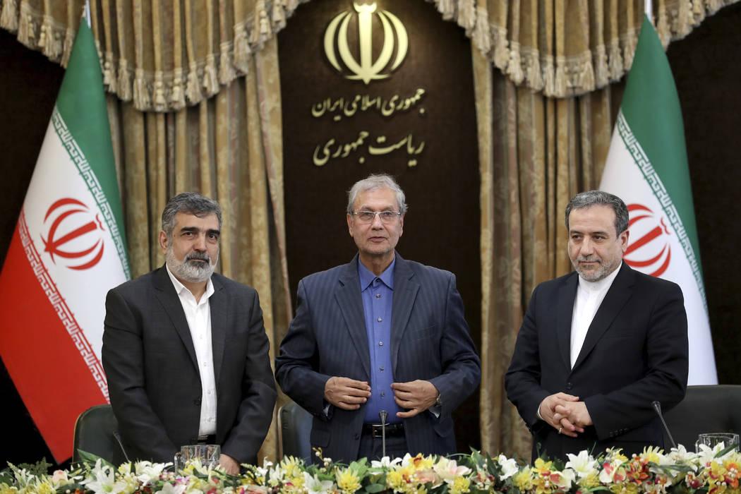 From left to right, spokesman for Iran's atomic agency Behrouz Kamalvandi, Iran's government sp ...