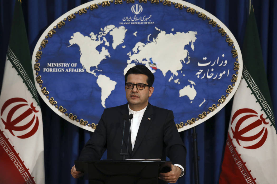 In a May 28, 2019, photo, Iran's Foreign Ministry spokesman Abbas Mousavi speaks at a media con ...