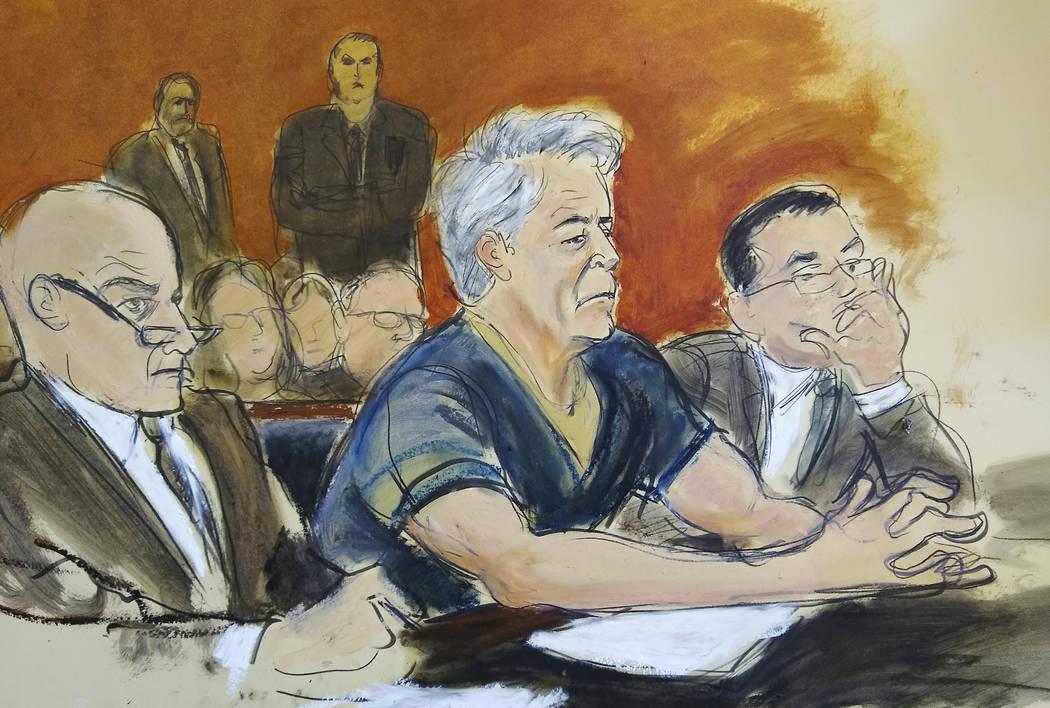 In this courtroom artist's sketch, defendant Jeffrey Epstein, center, sits with attorneys Marti ...
