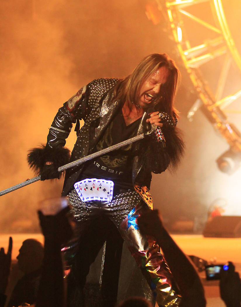 Motley Crue lead singer Vince Neil performs during a concert at The Joint inside the Hard Rock ...