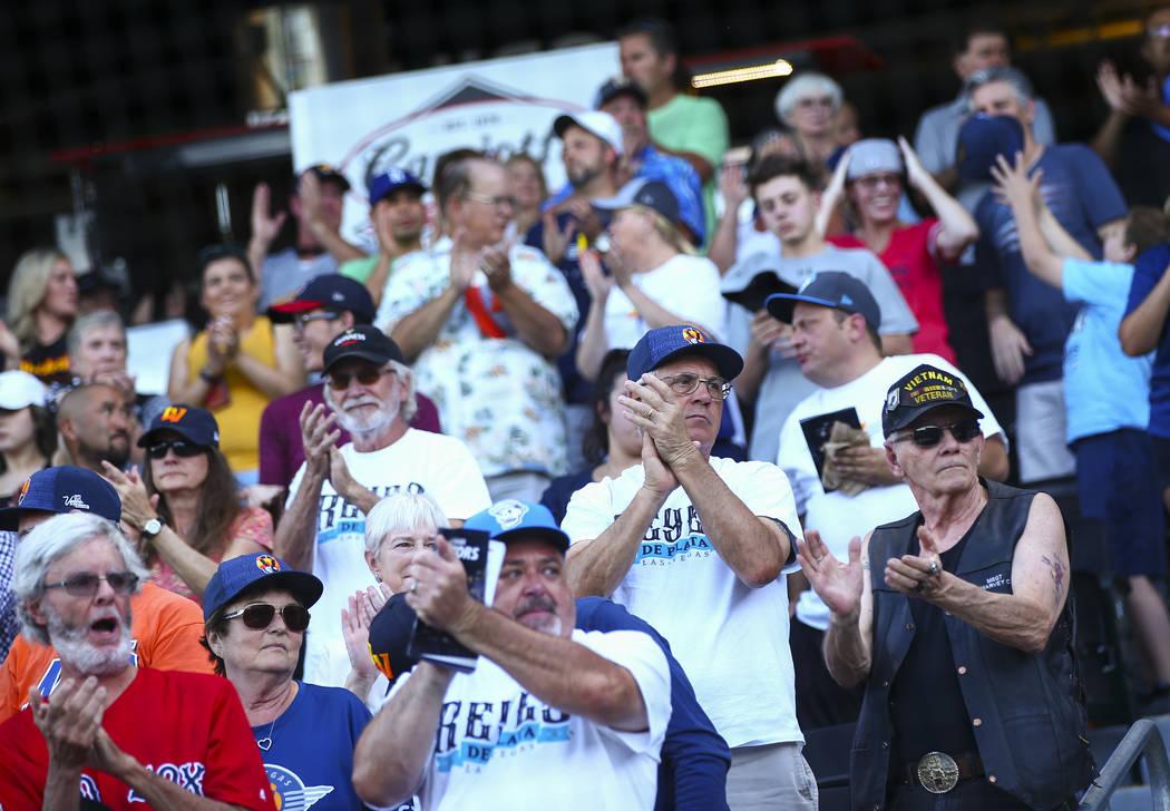 """Las Vegas Aviators fans wearing """"Reyes de Plata"""" (Silver Kings) apparel before the st ..."""