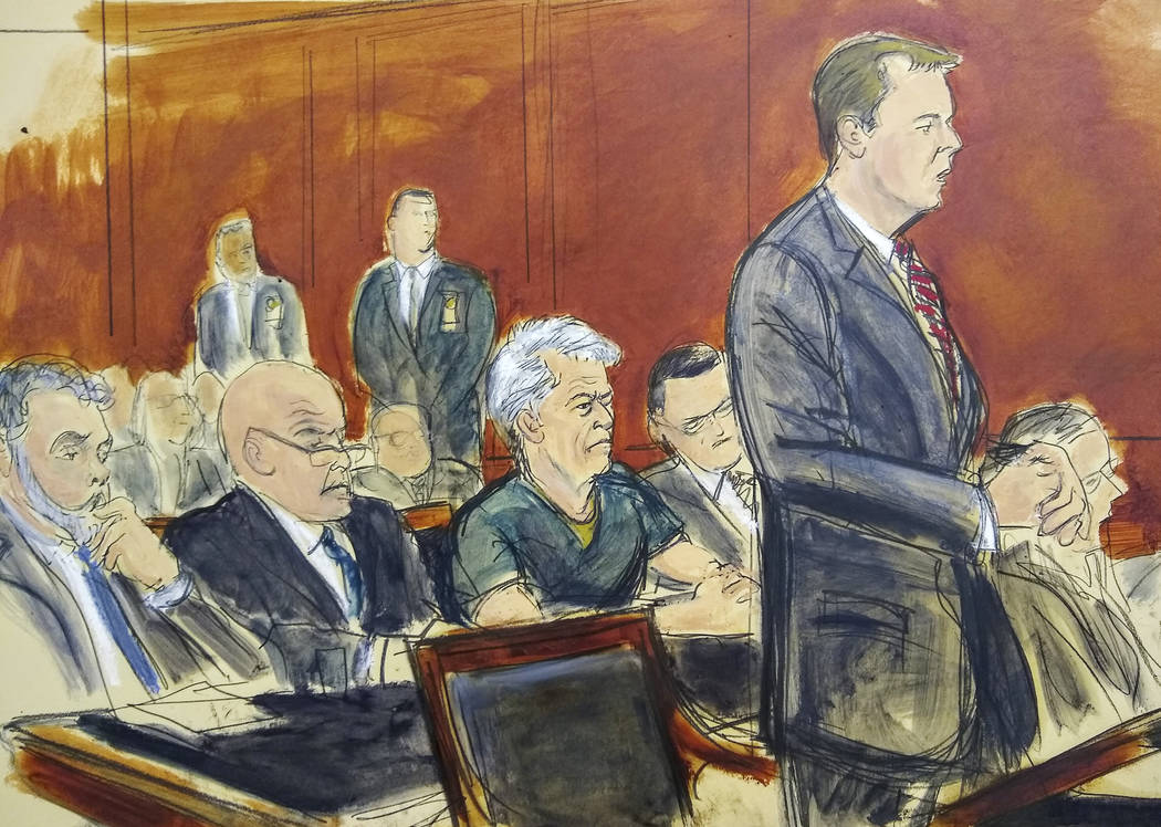 In this courtroom artist's sketch, defendant Jeffrey Epstein, center, listens as Assistant U.S. ...