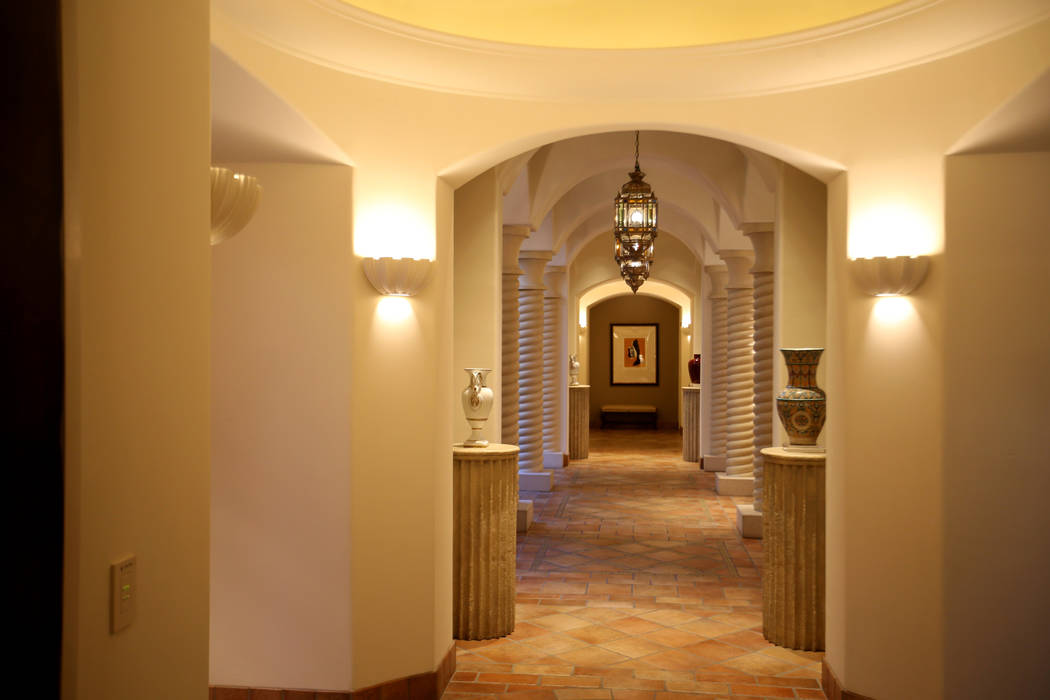 A hallway in the 12,000-square-foot Villa 8 at The Mansion at MGM on the Strip in Las Vegas Tue ...